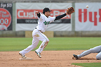 Clinton LumberKings shortstop Rayder Ascanio (13) catches a throw at second base during a game against the Lansing Lugnuts at Ashford University Field on May 9, 2017 in Clinton, Iowa.  The Lugnuts won 11-6.  (Dennis Hubbard/Four Seam Images)