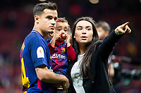 FC Barcelona Phillippe Coutinho and his girlfriend Aina celebrating the championship during King's Cup Finals match between Sevilla FC and FC Barcelona at Wanda Metropolitano in Madrid, Spain. April 21, 2018. (ALTERPHOTOS/Borja B.Hojas)