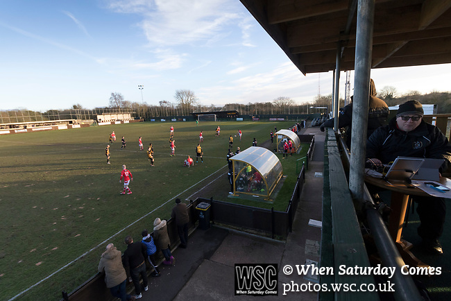 Rushall Olympic 1 Workingon 0, 17/02/2018. Dales Lane, Northern Premier League Premier Division. Workington press for an equaliser as the shadows lengthen. Photo by Paul Thompson. Rushall Olympic 1 Workingon 0, Northern Premier League Premier Division, 17th February 2018. Rushall is a former mining village now part of the northern suburbs of Walsall.