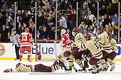 Bill Arnold (BC - 24), Steven Whitney (BC - 21), Patrick Wey (BC - 6), Chris Kreider (BC - 19), Kevin Hayes (BC - 12) - The Boston College Eagles defeated the Boston University Terriers 3-2 (OT) to win the 2012 Beanpot championship on Monday, February 13, 2012, at TD Garden in Boston, Massachusetts.