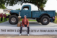 30th May 2021; Fort Worth, Texas, USA;  Jason Kokrak poses with trophy and sponsor's 75th anniversary truck after winning the Charles Schwab Challenge on May 30, 2021 at Colonial Country Club in Fort Worth, TX.