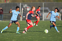 Piscataway, NJ, April 24, 2016.  Washington Spirit midfielder Tori Huster (23) dribbles between Sky Blue's Maya Hayes (5) and Taylor Lytle (6).  The Washington Spirit defeated Sky Blue FC 2-1 during a National Women's Soccer League (NWSL) match at Yurcak Field.