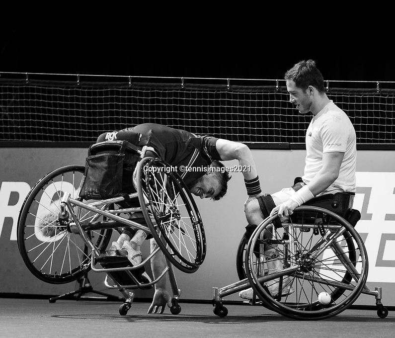 Rotterdam, The Netherlands,7 march  2021, ABNAMRO World Tennis Tournament, Ahoy,  <br /> Doubles Final Wheelchair: (L) Gordon Reid (GBR) wheelchair fall, Alfie Hewett (GBR) (R)<br /> Photo: www.tennisimages.com/henkkoster
