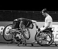 Rotterdam, The Netherlands,7 march  2021, ABNAMRO World Tennis Tournament, Ahoy,  <br /> Doubles Final Wheelchair: (L) Gordon Reid (GBR) wheelchair fall, Alfie Hewett (GBR) (R)<br /> Photo: www.tennisimages.com/henkkoster