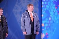 OLYMPICS: SOCHI: Medal Plaza, 09-02-2014, medaille uitreiking, 5000m Men, Koning Willem-Alexander (erelid IOC), ©foto Martin de Jong