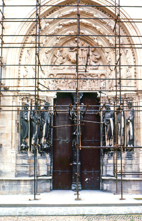 "Paris: Abbey of Saint-Denis. North Porch, transept, ""Valois Door"",12th centuy. (1170)  Photo '90."