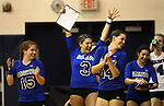 The Marymount University volleyball team celebrates a win during first round action at the 6th annual Worthington Classic at Gallaudet University in Washington, D.C., on Friday, Sept. 28, 2012. .Photo by Cathleen Allison