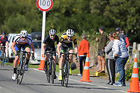 Conor Shearing, Liam Cooper and Haydn Muter complete the Under-19 Men's road race, Carterton-Martinborough-Gladstone circuit. Day three of the 2018 NZ Age Group Road Cycling Championships in Carterton, New Zealand on Sunday, 22 April 2018. Photo: Dave Lintott / lintottphoto.co.nz