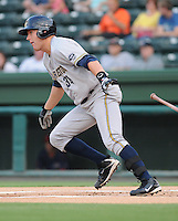 Infielder Luke Murton (34) of the Charleston RiverDogs in a game against the Greenville Drive on Aug. 24, 2010, at Fluor Field at the West End in Greenville, S.C. Photo by: Tom Priddy/Four Seam Images