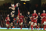 All Blacks full back Ben Smith and Wales outside half Dan Biggar compete for the high ball.<br /> Dove men Series 2014<br /> Wales v New Zealand<br /> 22.11.14<br /> ©Steve Pope -SPORTINGWALES