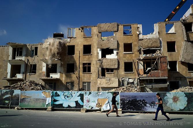 Buildings are demolished on Avenue Khoysky Fatali Khan in Baku, Azerbaijan.