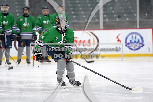 Notre Dame Fighting Irish of Batavia forward Ryan Webster (8) during introductions before a varsity ice hockey game against the Brockport Blue Devils during the Section V Rivalry portion of the Frozen Frontier outdoor hockey event at Frontier Field on December 22, 2013 in Rochester, New York.  (Copyright Mike Janes Photography)