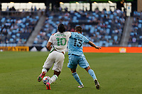 SAINT PAUL, MN - MAY 1: Cecilio Dominguez #10 of Austin FC and Michael Boxall #15 of Minnesota United FC battle for the ball during a game between Austin FC and Minnesota United FC at Allianz Field on May 1, 2021 in Saint Paul, Minnesota.