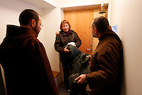 """A neighbour  comes to donate a jacket ...The new Munkeby Mariakloster - kloster is Norwegian for monastery . The four founding French monks will establish their discrete presence as a contemplative monastery according to the Rule of Saint Benedict, written in the 6th century. Brother Joel (55) & Cîteaux's Prior, brothers Arnaud (31), Bruno (33) and Cyril (81), have all chosen to be part of the founding community, despite Norway's rude climate and winter darkness at latitude 63º N, not far from the arctic circle.Munkeby, the """"place of the monks"""" was the third and northernmost Norwegian monastery established by the Cistercians in the 12th century"""
