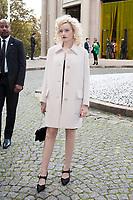 October 3 2017, PARIS FRANCE the Miu Miu<br /> Show at the Paris Fashion Week Spring Summer 2017/2018. Julia Garner attends leaves the show.