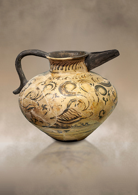 Minoan  beak spouted rhython with nautilus, coral and seaweed design, Phaistos Palace 1500-1450 BC; Heraklion Archaeological  Museum.