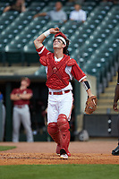 Andy Cosgrove (2) of the North Carolina State Wolfpack looks for a fly ball against the Boston College Eagles in Game Two of the 2017 ACC Baseball Championship at Louisville Slugger Field on May 23, 2017 in Louisville, Kentucky. The Wolfpack defeated the Eagles 6-1. (Brian Westerholt/Four Seam Images)