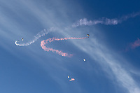 STANFORD, CA - JUNE 29: Sky Divers during a Major League Soccer (MLS) match between the San Jose Earthquakes and the LA Galaxy on June 29, 2019 at Stanford Stadium in Stanford, California.