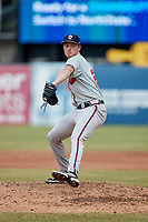 Rome Braves starting pitcher Tanner Gordon (25) in action against the Greensboro Grasshoppers at First National Bank Field on May 16, 2021 in Greensboro, North Carolina. (Brian Westerholt/Four Seam Images)