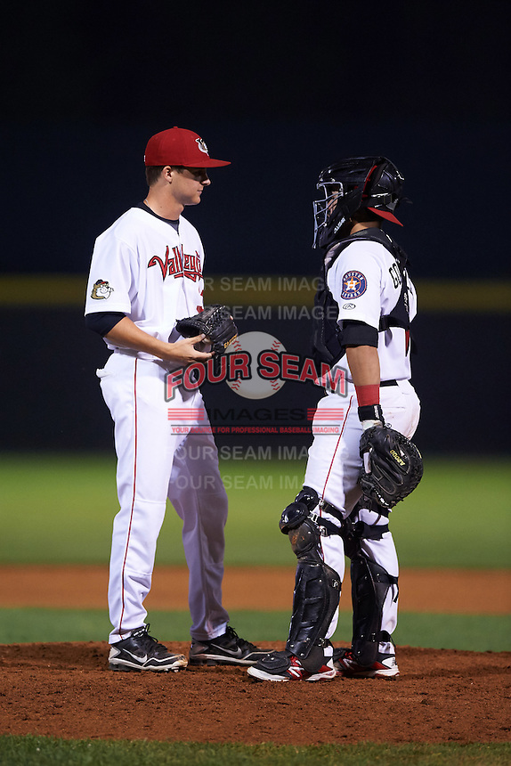 Tri-City ValleyCats pitcher Scott Weathersby (37) and catcher Richard Gonzalez (11) during a game against the Brooklyn Cyclones on September 1, 2015 at Joseph L. Bruno Stadium in Troy, New York.  Tri-City defeated Brooklyn 5-4.  (Mike Janes/Four Seam Images)