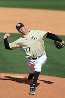 UCF Knights pitcher Gregg Cooke #37 delivers a pitch during a game against the Siena Saints at the UCF Baseball Complex on March 4, 2012 in Orlando, Florida.  Central Florida defeated Siena 15-2.  (Mike Janes/Four Seam Images)