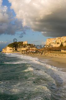 Italy, Calabria, Tropea: beach resort, L'Isola (island) with sanctuary Santa Maria dell'Isola