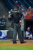 Home plate umpire Frank Sylvester makes a strike call during the game between the Duke Blue Devils and Clemson Tigers in Game Three of the 2017 ACC Baseball Championship at Louisville Slugger Field on May 23, 2017 in Louisville, Kentucky. The Blue Devils defeated the Tigers 6-3. (Brian Westerholt/Four Seam Images)