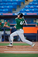 Daytona Tortugas first baseman Bruce Yari (44) hits a double during a game against the St. Lucie Mets on August 3, 2018 at First Data Field in Port St. Lucie, Florida.  Daytona defeated St. Lucie 3-2.  (Mike Janes/Four Seam Images)