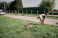 Maxence Moncassin (FRA/Wilier Triestina - Selle Italia) crashed in the race finale<br /> <br /> 98th Brussels Cycling Classic 2018<br /> One Day Race:  Brussels > Brussels (201km)