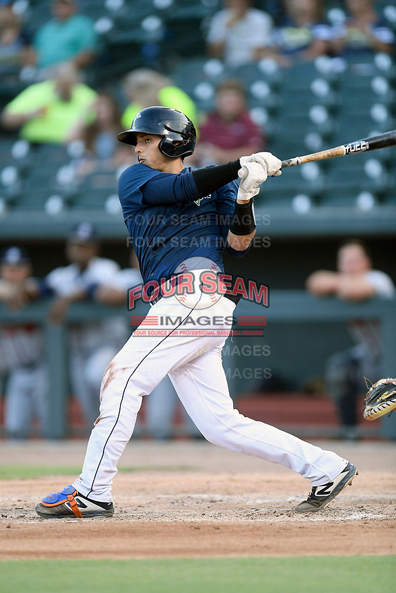 Catcher Juan Uriarte (17) of the Columbia Fireflies bats in a game against the Rome Braves on Tuesday, June 4, 2019, at Segra Park in Columbia, South Carolina. Columbia won, 3-2. (Tom Priddy/Four Seam Images)