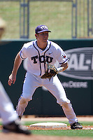 First baseman Brett Johnson #7 of the Texas Christian University Horned Frogs on defense during the NCAA Regional baseball game against the Ole Miss Rebels on June 1, 2012 at Blue Bell Park in College Station, Texas. Ole Miss defeated TCU 6-2. (Andrew Woolley/Four Seam Images)