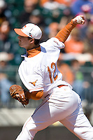 Texas Longhorn starting pitcher Brandon Workman against Nebraska on Sunday March 21st, 2100 at UFCU Dish-Falk Field in Austin, Texas.  (Photo by Andrew Woolley / Four Seam Images)