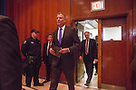 New York City Mayor Bill De Blasio pays a visit to Rikers Island to briefly tour the facilities and lead a press conference on the heel of several reforms being implemented at the facilities by the New York City Department of Correction.<br /> <br /> Here, the mayor arrives to the press conference along with Commissioner for New York City's Department of Correction Joe Ponte.<br /> <br /> Photographed on December 17, 2014 by Mark Abramson for the Wall Street Journal