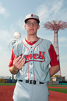 Lowell Spinners pitcher Teddy Stankiewicz (36) before a game against the Brooklyn Cyclones at MCU Park on July 9, 2013 in Brooklyn, NY.  Lowell defeated Brooklyn 5-2.  (Tomasso DeRosa/Four Seam Images)
