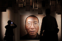 Exhibition in the Nobel Peace Center in Oslo. The Norwegian Nobel Committee decided to award.the Nobel Peace Prize for 2010 to Liu Xiaobo. Leader of the Norwegian Nobel Committee Thorbjørn Jagland elaborated on their decision to award the prize to Xiaobo during the ceremony in Oslo Town Hall. .Liu Xiaobo is imprisoned and no immediate family was permitted to leave China to accept the prize. ..Photo: Fredrik Naumann/Felix Features
