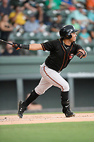 Left fielder Edison Lantigua (25) of the Delmarva Shorebirds bats in a game against the Greenville Drive on Friday, August 2, 2019, at Fluor Field at the West End in Greenville, South Carolina. The game was suspended in the second inning and will not be made up. (Tom Priddy/Four Seam Images)