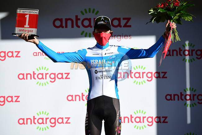 Krists Neilands (LAT) Israel Start-Up Nation wins the day's combativity award at the end of Stage 4 of Tour de France 2020, running 160.5km from Sisteron to Orcieres-Merlette, France. 1st September 2020.<br /> Picture: ASO/Pauline Ballet | Cyclefile<br /> All photos usage must carry mandatory copyright credit (© Cyclefile | ASO/Pauline Ballet)