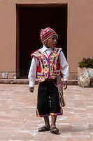 Peru, Moray, Urubamba Valley.  Young Quechua Boy, Parador de Moray.