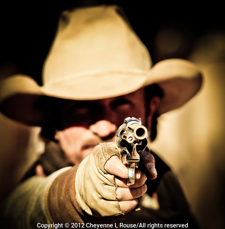 """Drop it!"" - Gunfighter - Old West Reenactor - Goldfield Ghost Town - Arizona (MR)"
