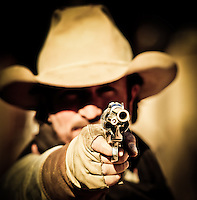 """Drop it!"" - Gunfighter - Old West Reenactor - Goldfield Ghost Town - Arizona (MR)"
