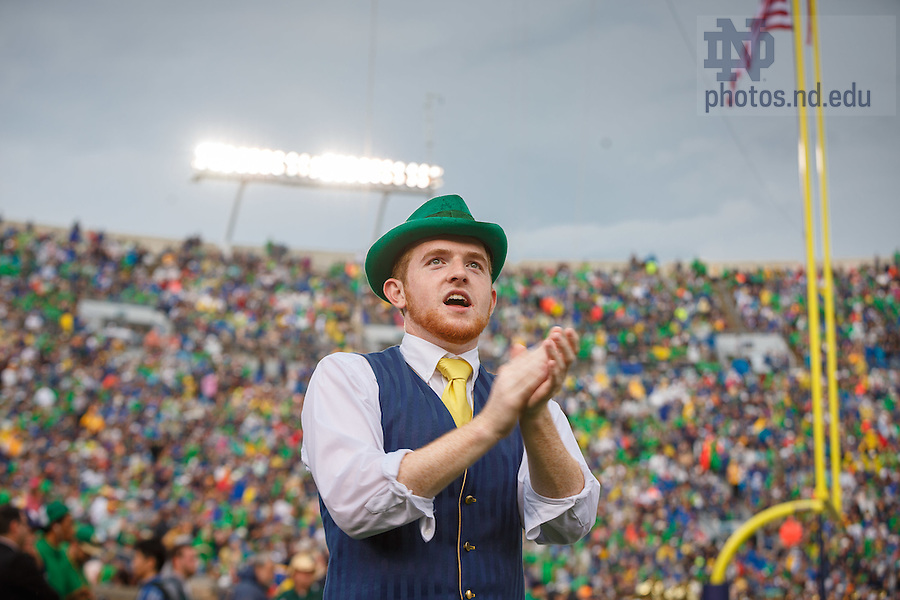 Aug. 30, 3014; 2014 Leprechaun during the season opening football game against Rice..Photo by Peter Ringenberg/University of Notre Dame