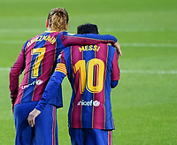 7th November 2020; Camp Nou, Barcelona, Catalonia, Spain; La Liga Football, Barcelona versus Real Betis;  Leo Messi and Griezmann celebration after the goal for 2-1 in the 49th minute