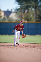 Kaysen Kajiwara (2) of Damien Memorial Schools in Mililani, Hawaii during the Baseball Factory All-America Pre-Season Tournament, powered by Under Armour, on January 13, 2018 at Sloan Park Complex in Mesa, Arizona.  (Mike Janes/Four Seam Images)