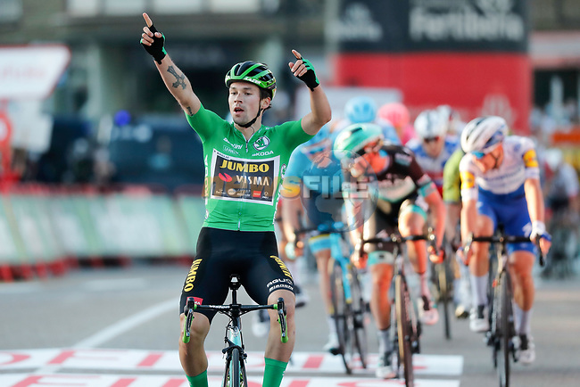 Green Jersey Primoz Poglic (SLO) Team Jumbo-Visma wins Stage 10 of the Vuelta Espana 2020 running 187.4km from Castro Urdiales to Suances, Spain. 30th October 2020.    <br /> Picture: Luis Angel Gomez/PhotoSportGomez | Cyclefile<br /> <br /> All photos usage must carry mandatory copyright credit (© Cyclefile | Luis Angel Gomez/PhotoSportGomez)