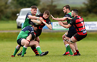 Saturday 3rd October 2020 | Hinch vs Armagh<br /> <br /> Armagh fullback Shea O'Brien is tackled by Robin Harte and Bradley Luney during their Ulster Senior League clash against Armagh at Ballymacarn Park, Ballynahinch, County Down, Northern Ireland. Photo by John Dickson / Dicksondigital