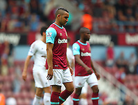 Dejected Dimitri Payet of West Ham United   during the Barclays Premier League match between West Ham United and Swansea City  played at Boleyn Ground , London on 7th May 2016
