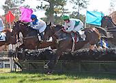 Port Morsbey, right, wins the Novice Hurdle Stakes at Callaway.