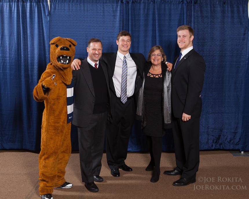 State College, PA - 12/15/2013:  Penn State Football Senior Awards Banquet presented by the State College Quarterback Club, held on Sunday, December 15, 2013, at the Penn Stater Conference Center.  <br /> <br /> Photos by Joe Rokita / JoeRokita.com<br /> <br /> Photo ©2013 Joe Rokita Photography