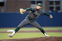 Michigan State Spartans pitcher Evan Flohr (44) delivers a pitch to the plate in the NCAA baseball game against the Michigan Wolverines on May 7, 2019 at Ray Fisher Stadium in Ann Arbor, Michigan. Michigan defeated Michigan State 7-0. (Andrew Woolley/Four Seam Images)