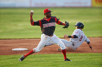Batavia Muckdogs shortstop Anfernee Seymour (3) throws to first during a game against the Mahoning Valley Scrappers on July 3, 2015 at Dwyer Stadium in Batavia, New York.  Batavia defeated Mahoning Valley 7-4.  (Mike Janes/Four Seam Images)